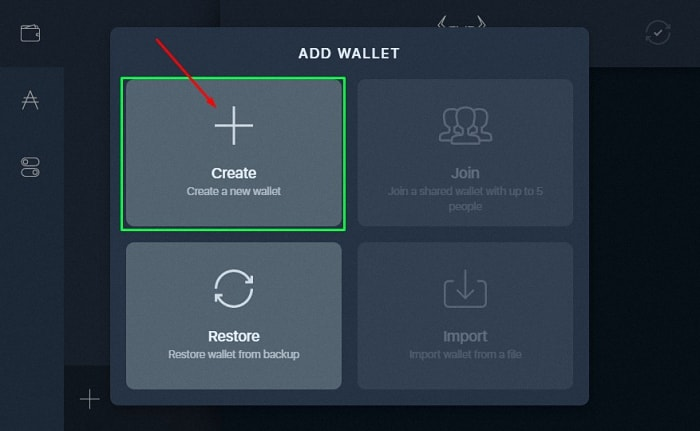 Daedalus-add-new-wallet